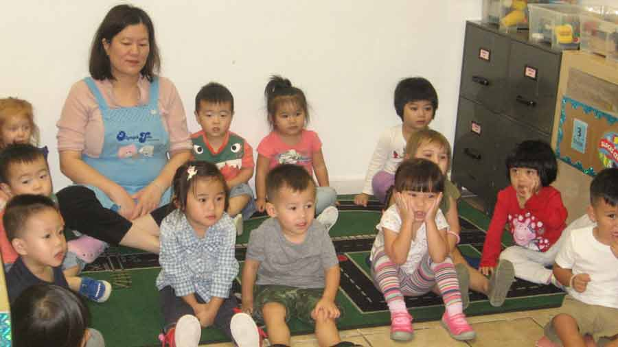 Young students and their teacher sitting on the floor listening